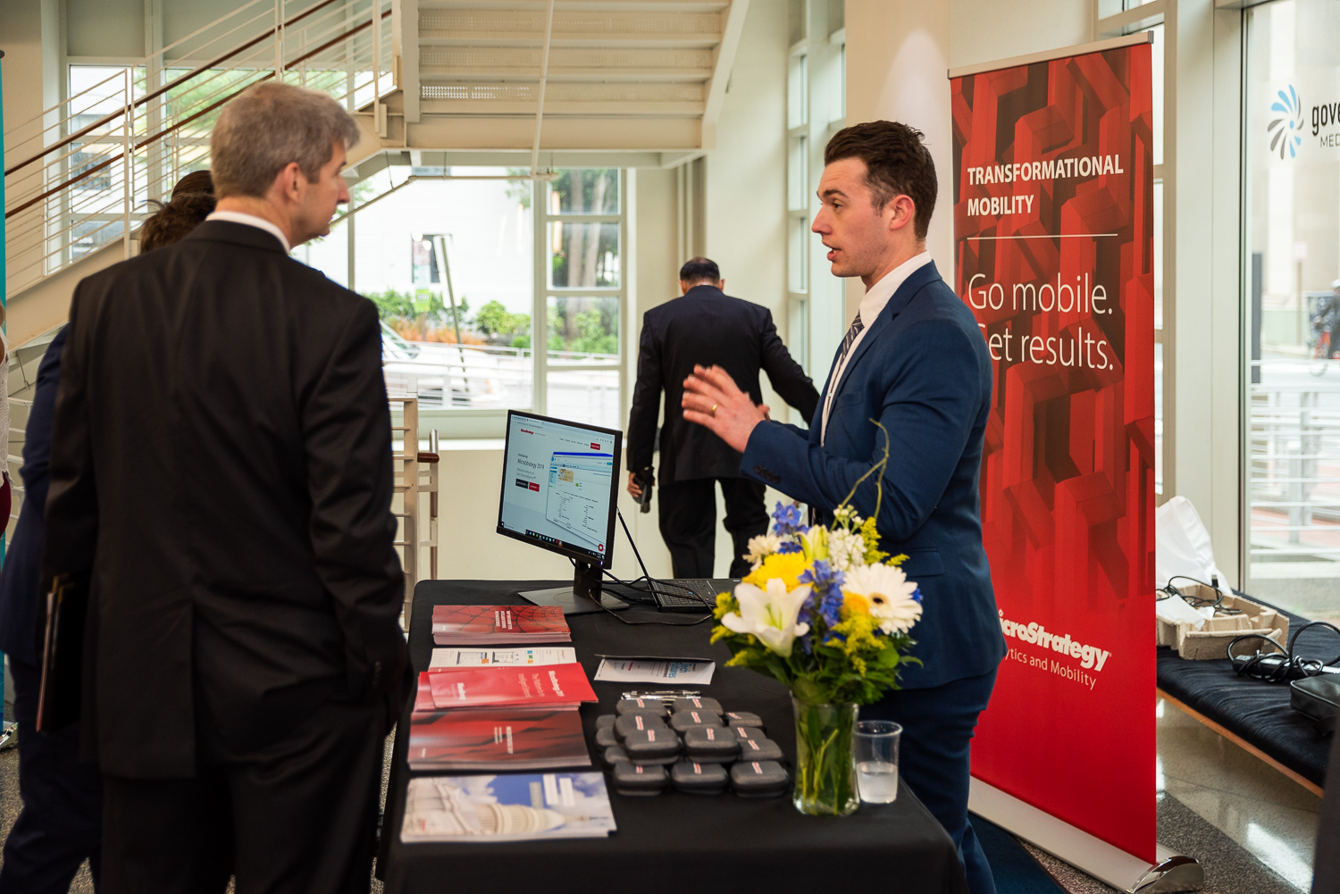 Microstrategy booth at Tech Futures in Government Event