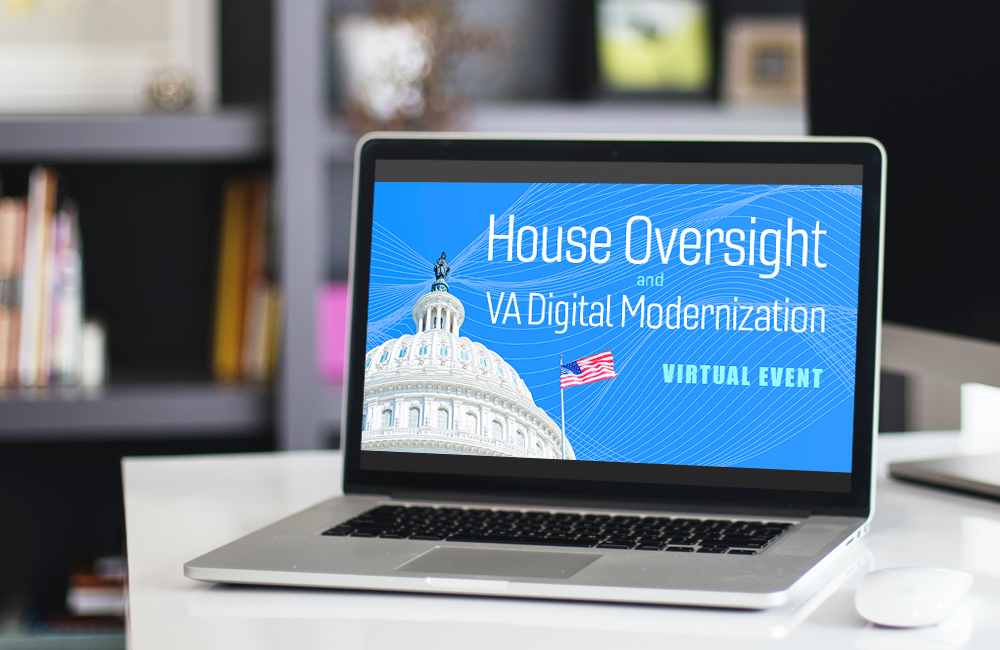 House Oversight banner on laptop computer in library