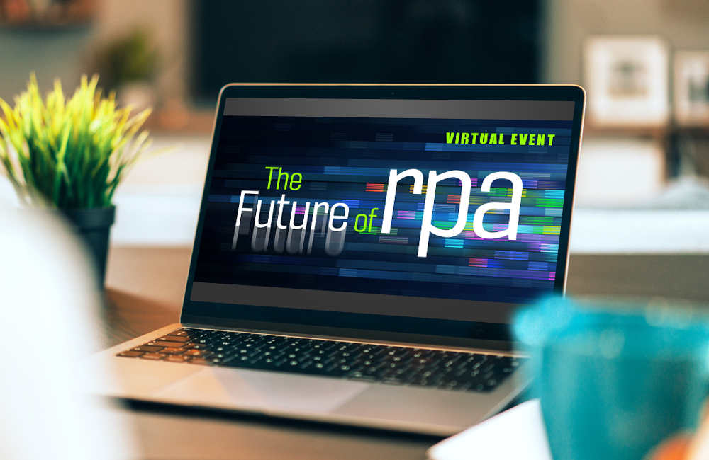 RPA event logo on laptop computer in living room