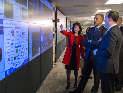 President Obama and Greg Touhill tour the NCCIC