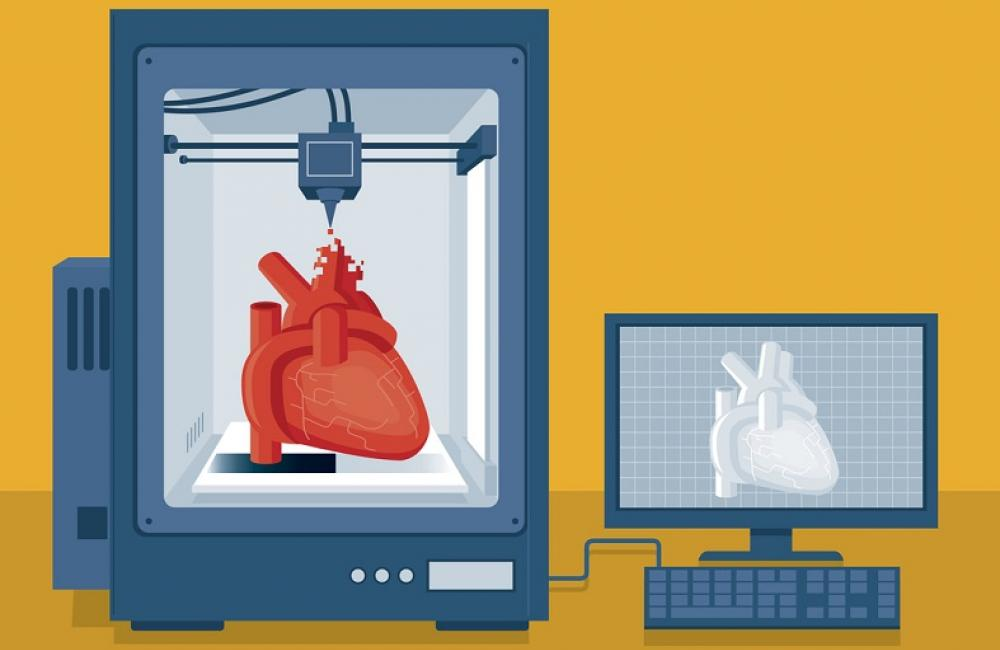 heart in a glass box with monitor nearby