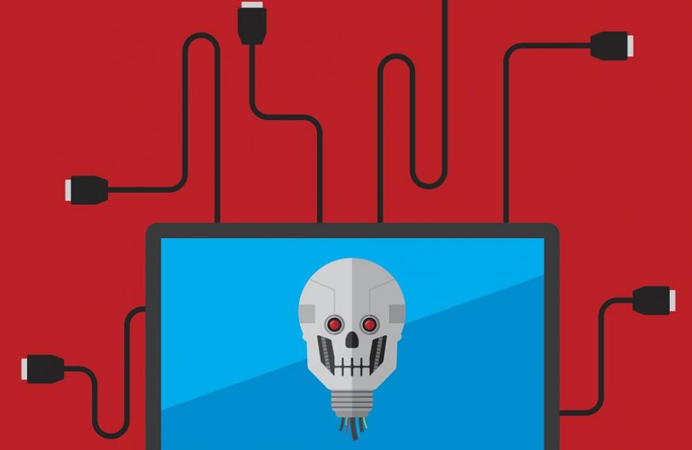 Blue computer screen with skull, red background