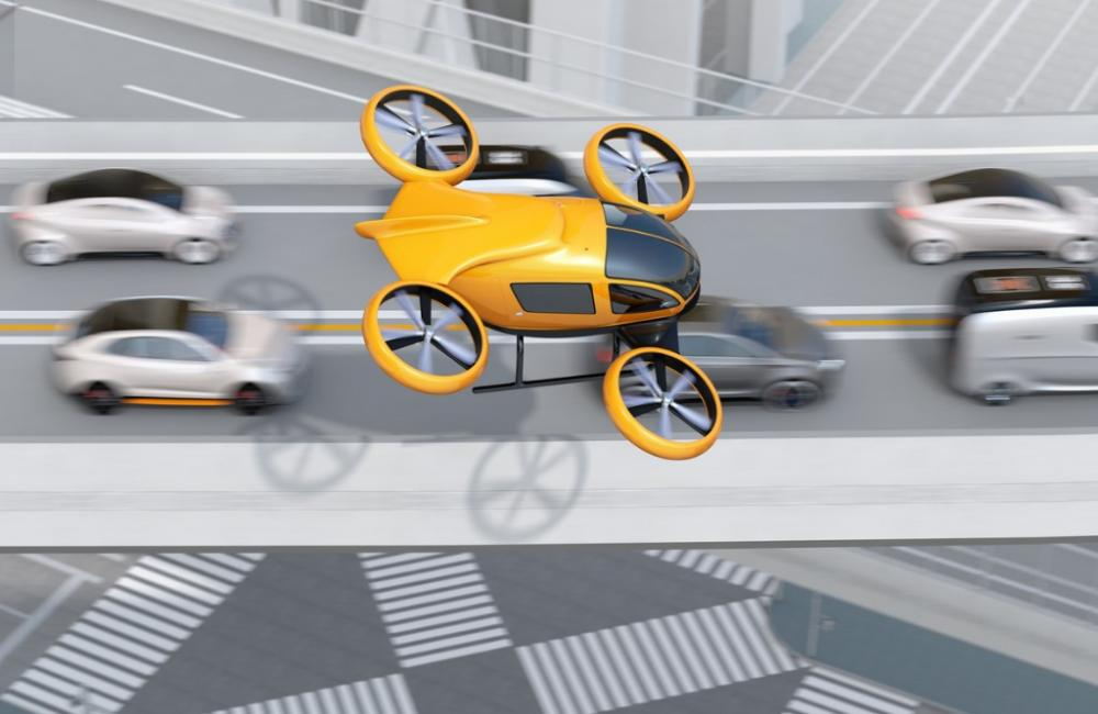 Flying cars above traffic
