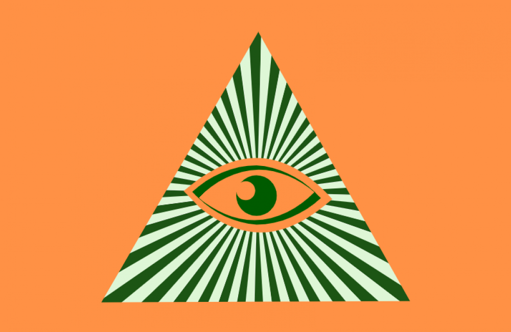 Eye centered in pyramid with rotating sunburst rays