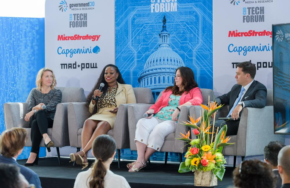 U.S. Digital Service Director of Procurement Traci Walker, 18F Director of Acquisition Ashley Owens, and Founder and CEO of Dcode Meagan Metzger spoke at the Acquisition Innovation CXO Tech Forum on June 20.