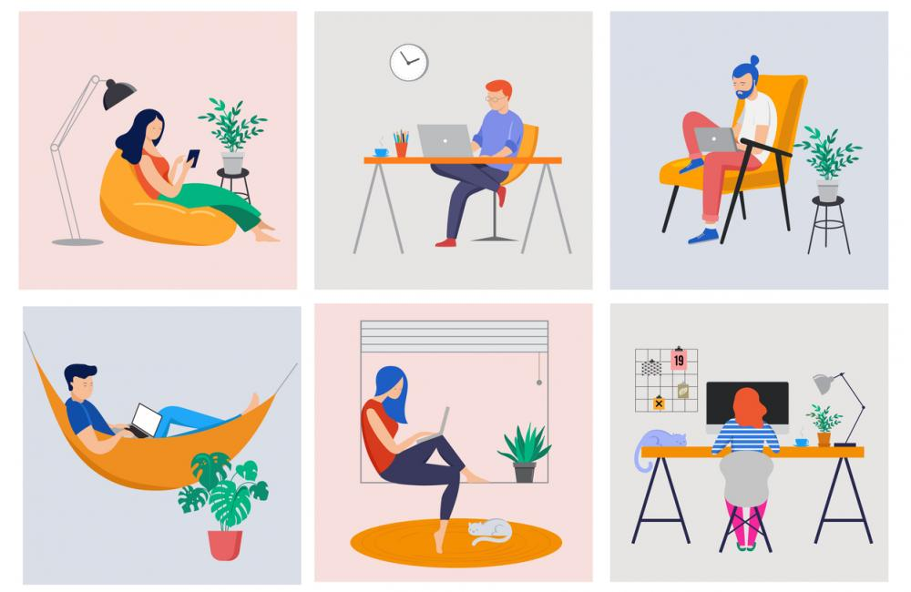 graphic of people working from home