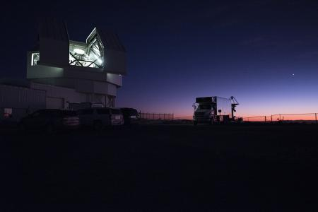 Light emits from the dome of the Space Surveillance Telescope near White Sands Missile Range, New Mexico.