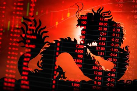 Dark Chinese dragon against red backdrop with numbers indicating trade