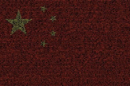 Chinese flag composed of dense computer code cybersecurity concept