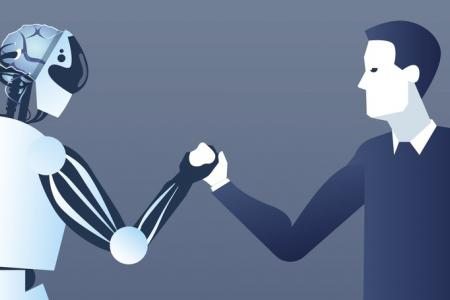People And Robots Handshake Modern Human And Artificial Intelligence Futuristic Mechanism Technology