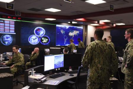 Sailors stand watch in the Fleet Operations Center at the headquarters of U.S. Fleet Cyber Command/U.S. 10th Fleet (FCC/C10F) at Fort George G. Meade, Maryland, Sept. 27, 2018. (U.S. Navy photo by Mass Communication Specialist 1st Class Samuel Souvannason/Released)