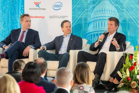 Defense Innovation Unit Director Mike Madsen, National Geospatial-Intelligence Agency Automation Lead Todd Myers, Cloudera Chief Strategy Officer Mike Olson in the National Security Panel at CXO Tech Forum: AI and Big Data in Government