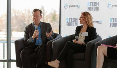 Former first federal CISO Gregory Touhill speaks at the CXO Tech Forum: Uncle Sam Meets Silicon Valley.