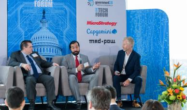 Deputy Associate Administrator for the Office of Information Integrity and Access Dan Pomeroy and Acquisitions Lead for the GSA Centers of Excellence Omid Ghaffari-Tabrizi spoke at the CXO Tech Forum on June 20. Photo Credit: Geoff Livingston