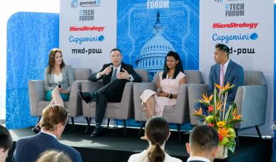 MadPow Founder and Chief Innovation Officer Amy Heyman; HHS Chief Product Officer Todd Simpson; CMS U.S. Digital Services Expert Mishu Tasnim; and HHS Chief Technology Officer, Office of Acquisition, Oki Mek speak at the Acquisition Innovation CXO Tech Forum on June 20.
