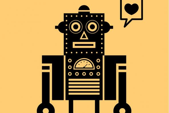 Stylized robot with speech bubble with heart in it