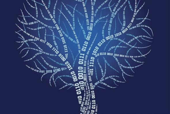 White binary tree illuminated against blue background