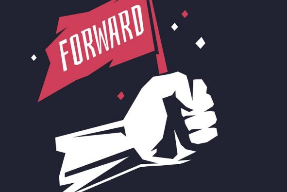 Poster with fist holding a flag that says Forward