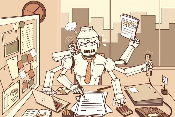 Busy robot doing multiple tasks