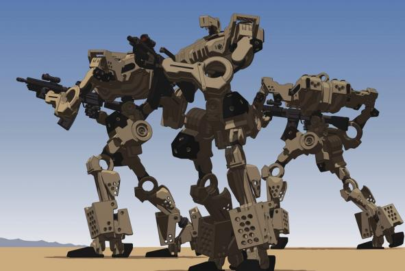 large robot holding weapons on the battleground