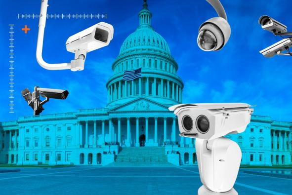 Surveillance cameras in front of Capitol building