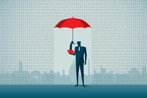 man with laptop holding umbrella amid binary rain