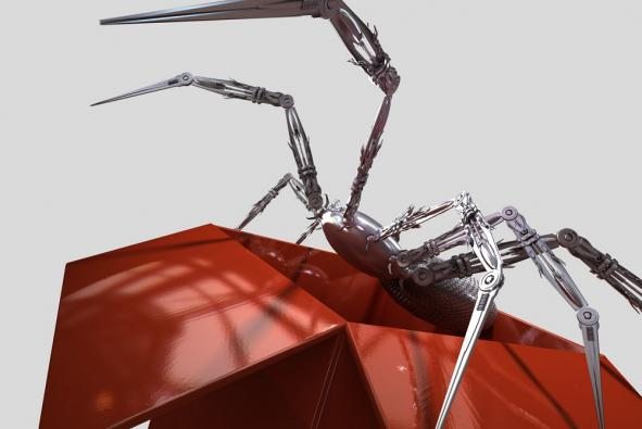 Robot spider climbing out of box