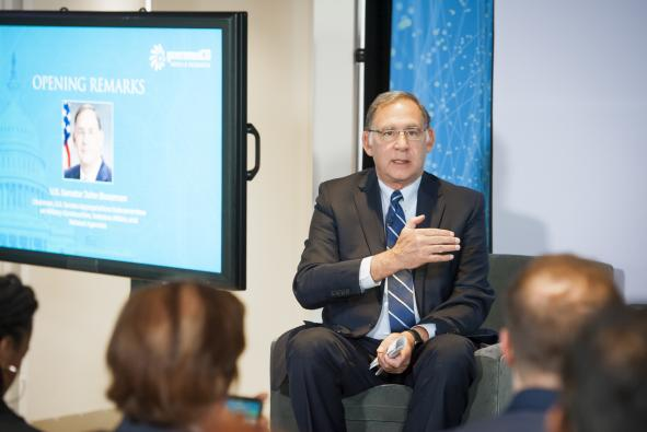 U.S. Senator John Boozman discusses the implementation of the MISSION Act to improve veteran care at the Veterans Digital Transformation Breakfast.