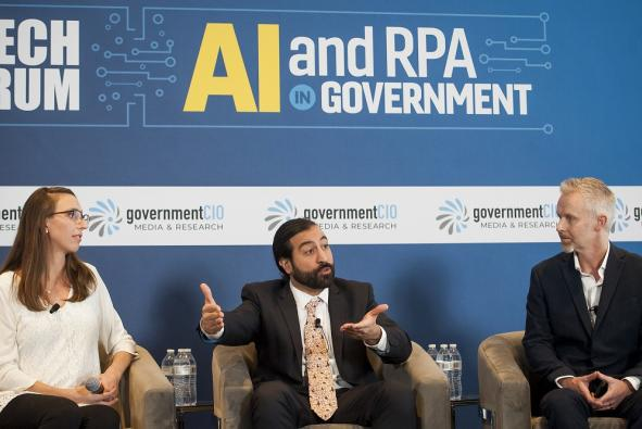 GSA Centers of Excellence Acquisition Leads Omid Ghaffari-Tabizi and Michelle McNellis discuss their partnership with DoD's Joint AI Center in improving federal acquisition processes.