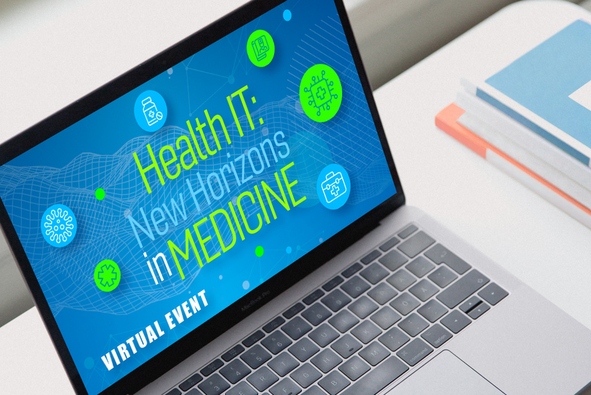 Laptop on desk with title Health IT New Horizons in Medicine