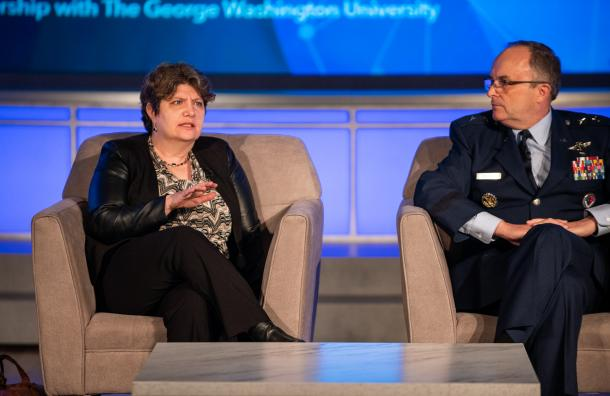 GSA Deputy CIO Beth Killoran speaks with Defense Health Agency Assistant Director for Combat Support Maj. Gen. Lee E. Payne.at GovernmentCIO Media & Research's Tech Futures in Government event on May 9, 2019. (Geoff Livingston/GovernmentCIO Media & Research)