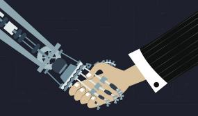 Robot shaking hands with person