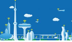 A modern cityscape panorama view with wireless networks looking futuristic