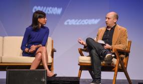 Jessica Rosenworcel, Commissioner, Federal Communications Commission with Jason Abbruzzese, Senior Tech Editor, NBC News on the centre stage during day three of Collision 2018 at Ernest N. Morial Convention Center in New Orleans.