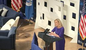 DHS Secretary Kirstjen Nielsen speaks at the DHS Cybersecurity Summit.