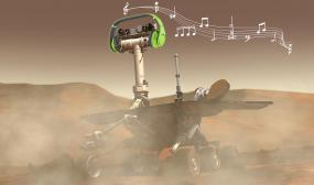 Rover on Mars listening to music from headphones